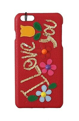 NEW $400 DOLCE & GABBANA Phone Case Red Leather Sequined Studded iPhone6 Plus