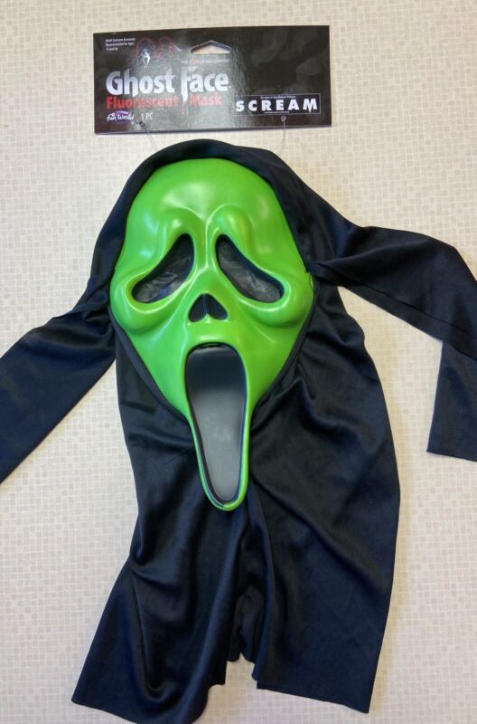 SCREAM Mask Fluorescent Green Fun World ghostface ghost face Halloween