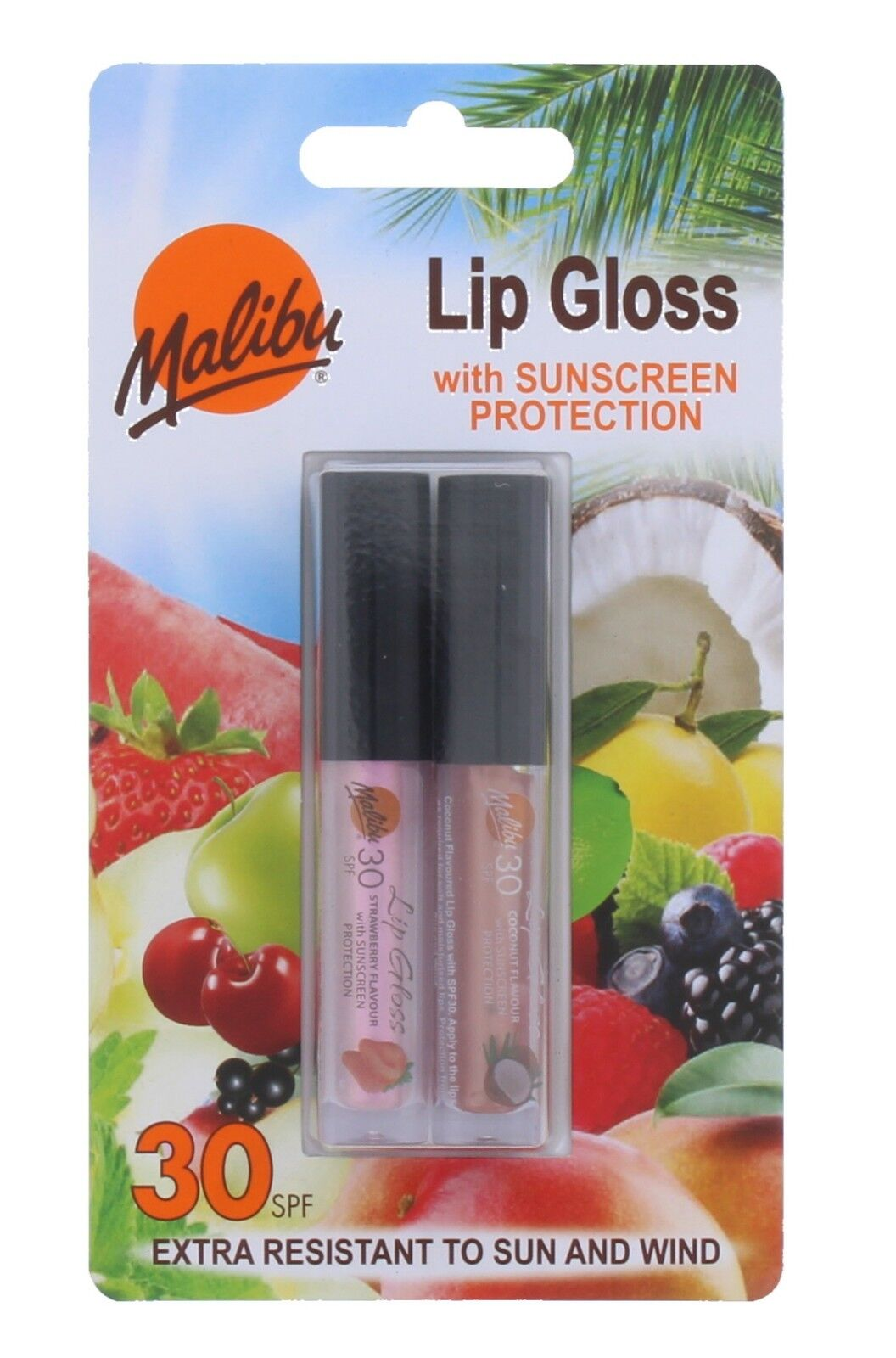 Malibu Lip Gloss with Sunscreen Protection SPF30 Strawberry + Coconut 2 Pack