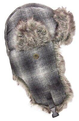 2eddddd3 736206263818. Dakota Dan Winter Trooper Hat Cap Faux Rabbit Fur Black &  White Plaid