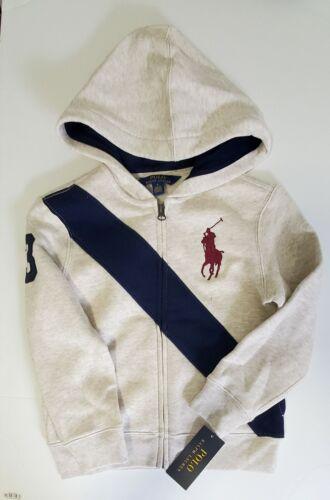 Polo Ralph Lauren Little Boys Striped Fleece Hoodie American Heather Sz 6 - NWT