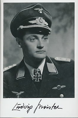 Ludwig Meister signed photo.Luftwaffe Nightfighter Ace.