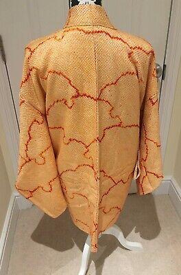 Vintage Japanese Orange/Ivory Silk 'Snowflakes' SHIBORI Kimono Haori Jacket S/M