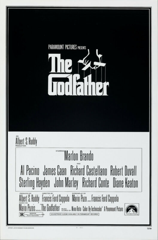 The Godfather (1972) Movie Poster R. 1982, Original, SS, Unused, NM, Rolled