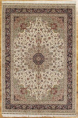 Classic Collection Teppich (Classic Zhenping Collection Rug 6x9 Ivory Silk Tabriz Handmade Rug)