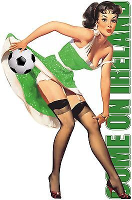 COME ON IRELAND FOOTBALL T SHIRT MENS SEXY PIN UP GIRL REPUBLIC SOCCER EURO TOPS