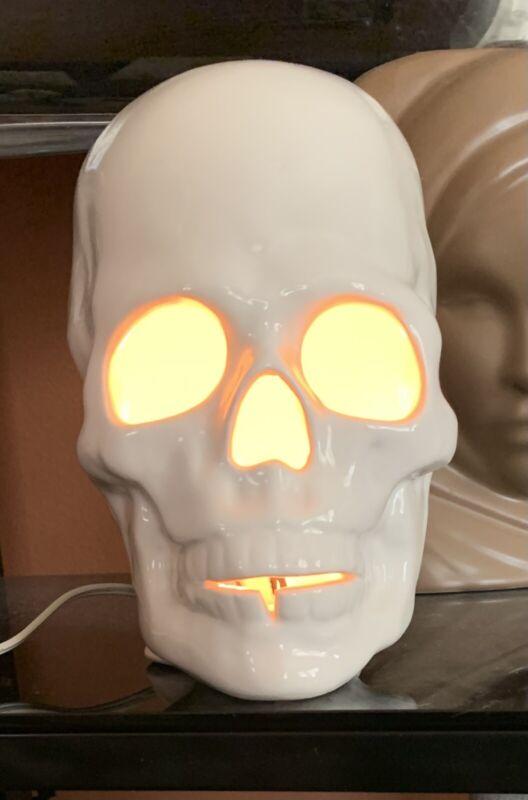 Vintage Spooky Ceramic Glazed White Skull Lamp Halloween Light