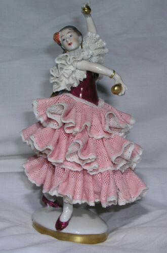 Vintage Dresden Lace Spanish Flamenco Dancer w Castanets Pink Dress Gold Trim