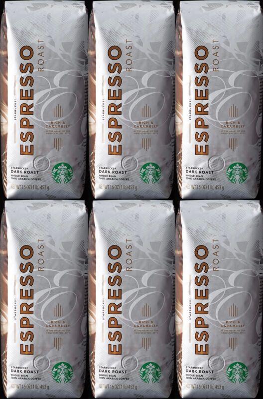 Starbucks Espresso Blend Dark Roast Whole Bean Coffee 1Lb Each 6-Pack BBD 3/21