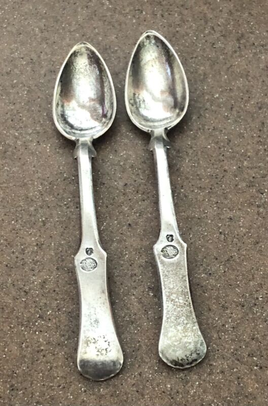 antique ottoman 2 turkish silver spoons w/ tughra