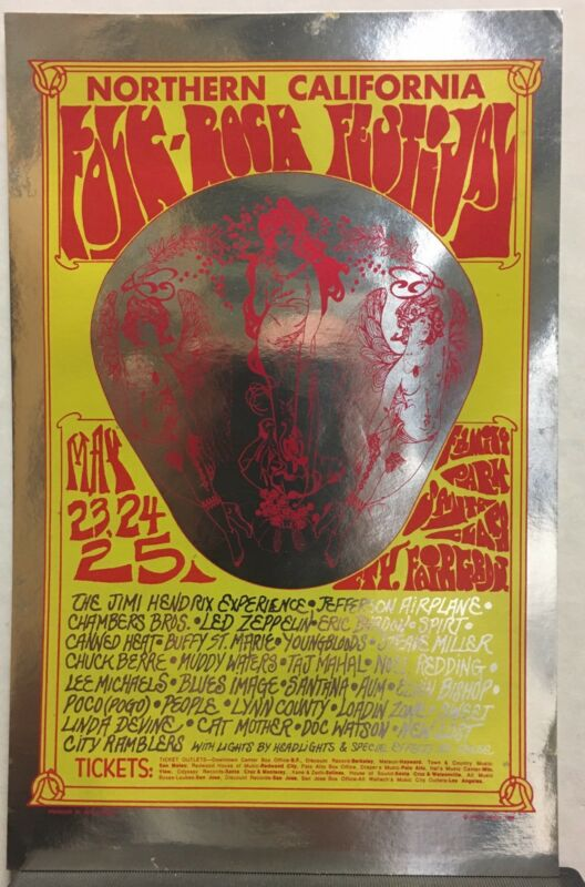 1969 Northern California Folk-Rock Festival Fillmore Era Concert Flyer HENDRIX