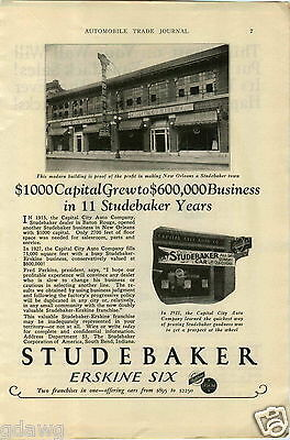 1927 Paper Ad Studebaker Dealership Store Sign Capital City Auto Walker Jack