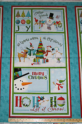 Ho-Ho-Ho Let it Snow Melting Snowman Christmas Benartex Fabric Panel 23