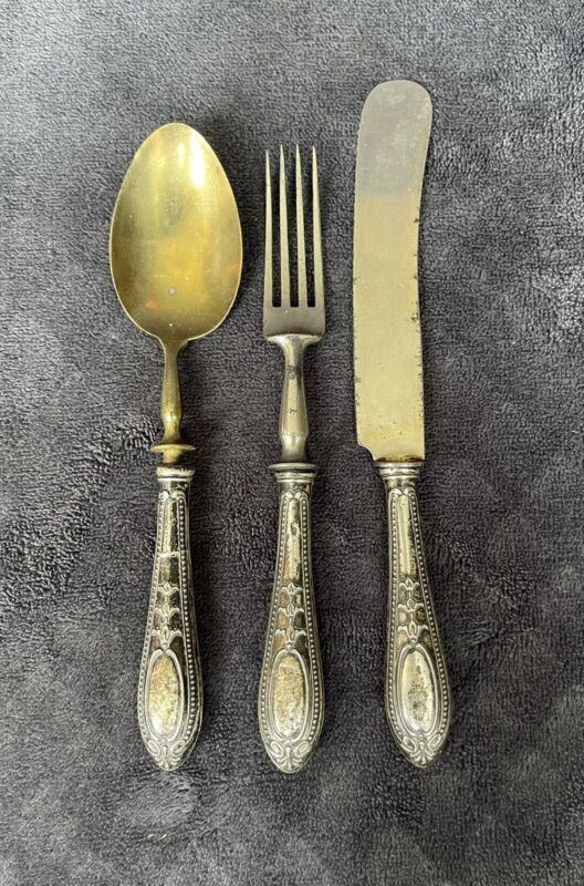 Antique Vintage French? Elegant Sterling Silver Handle Knife Fork Spoon Set