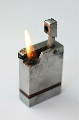 Vintage Petrol Lighter AIRLITE Solid Aluminium Made in England Working Order