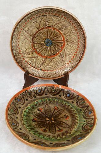 Vintage Romanian Horzu Folk Art Pottery Plates Clay Geometric Design 9 Inches