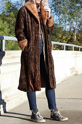 Vintage Long Coat Vegan Winter Jacket Retro Boho Palon Outerwear S/M