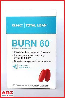 Gnc Total Lean Burn 60 Dietary Supplement Cinnamon Flavored Tablets  60Ct