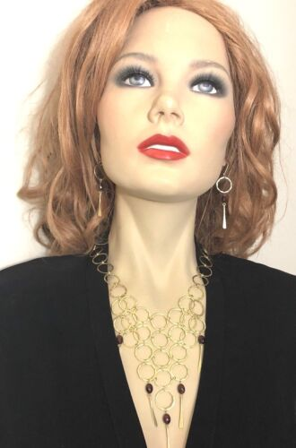 Robert Lee Morris 18k Gold Vintage 10.0ct Garnet  Necklace & Earrings Set Rare