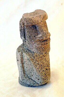 Carved Easter Island Moai Head Figurine Carved from Volcanic Pumice Tuff Rock