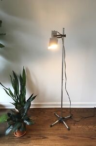 Vintage Mid Century Modern Chrome Floor Lamp Light Industrial
