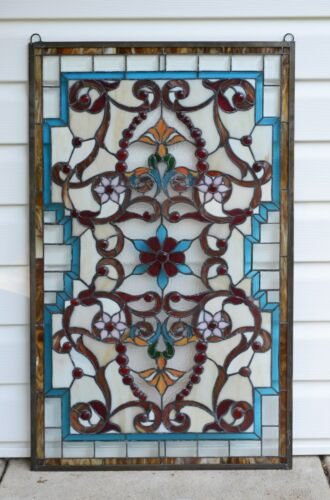 "Handcrafted Jeweled Beveled stained glass window panel. 20.5""W x 34.5""H"