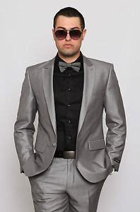 Slim-Fit-Men-Suit-Silver-1-Button-Peak-Lapel-Sharkskin-Fabric-Zara-Style-Suit