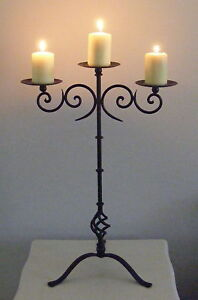 Wrought Iron Candle Holder Rustic Country Standing 3 Cup Wedding Candelabra CF37