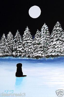 Newfoundland Dog Newfie Winter Moon Folk Art Print Todd Young Blanket Of Snow