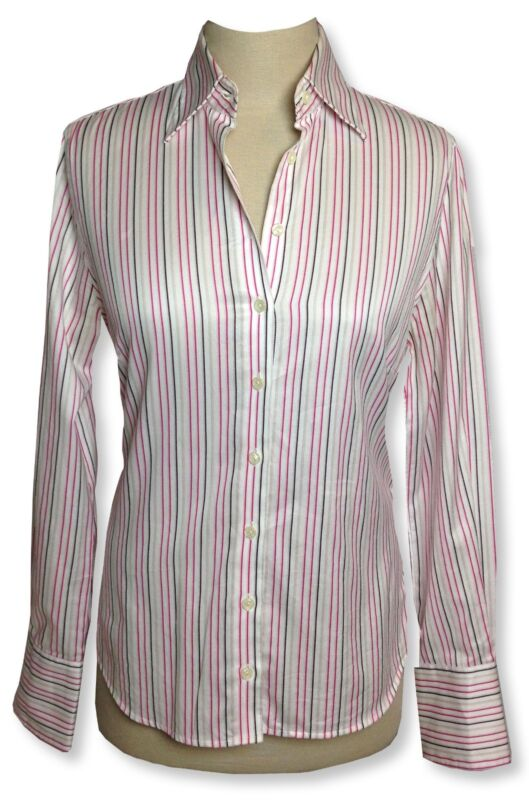 CHARLES TYRWHITT pink/white stripe long sleeve blouse button down Sz 4 FREE SHIP
