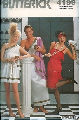 Butterick 4199 TOGAS Flapper Costume Pattern UNCUT XS-XL Frat Party Misses Mens