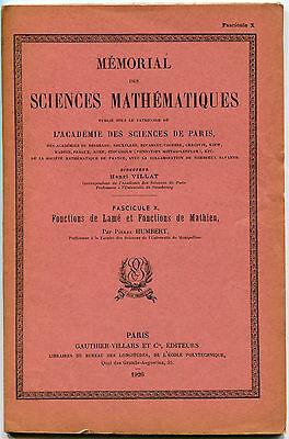 PIERRE HUMBERT FONCTIONS DE LAME ET FONCTIONS DE MATHIEU GAUTHIER VILLARS 1926