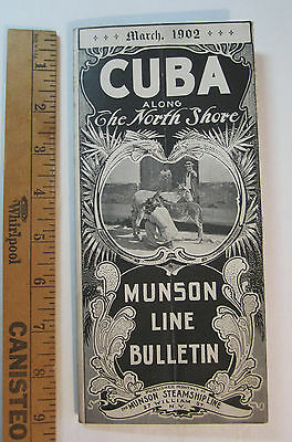 RARE - Munson Steamship Line - 1902 CUBA Timetable Travel Bulletinw Maps etc.