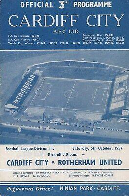 Oct 57 Cardiff City v Rotherham United