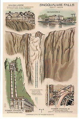 Snoqualmie Falls Washington Waterfall Power Station Lodge etc Technical Postcard