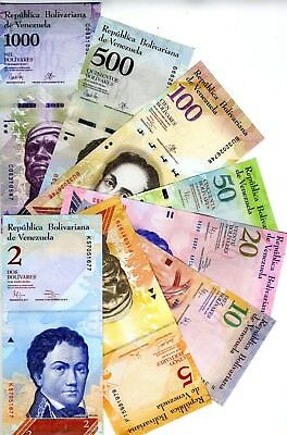 SET, Venezuela, 2;5;10;20;50;100;500;1000 Bolivares, 2007-2017, UNC > Colorful