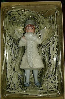 "NIB Costco Porcelain Victorian Winged 6"" Angel Christmas Ornament in Gift Box"