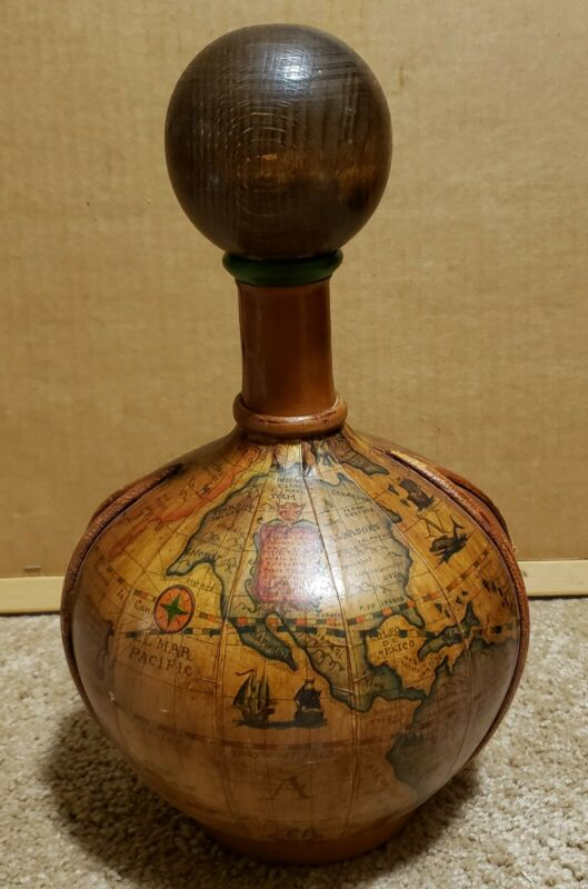Vintage Circa 1970 Italian Old World Map Leather Wrapped Glass Decanter