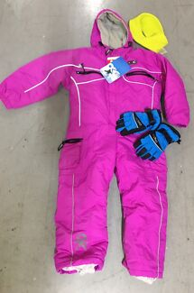 Girls OkCO snow one piece suit; ski gloves (XS) and head band