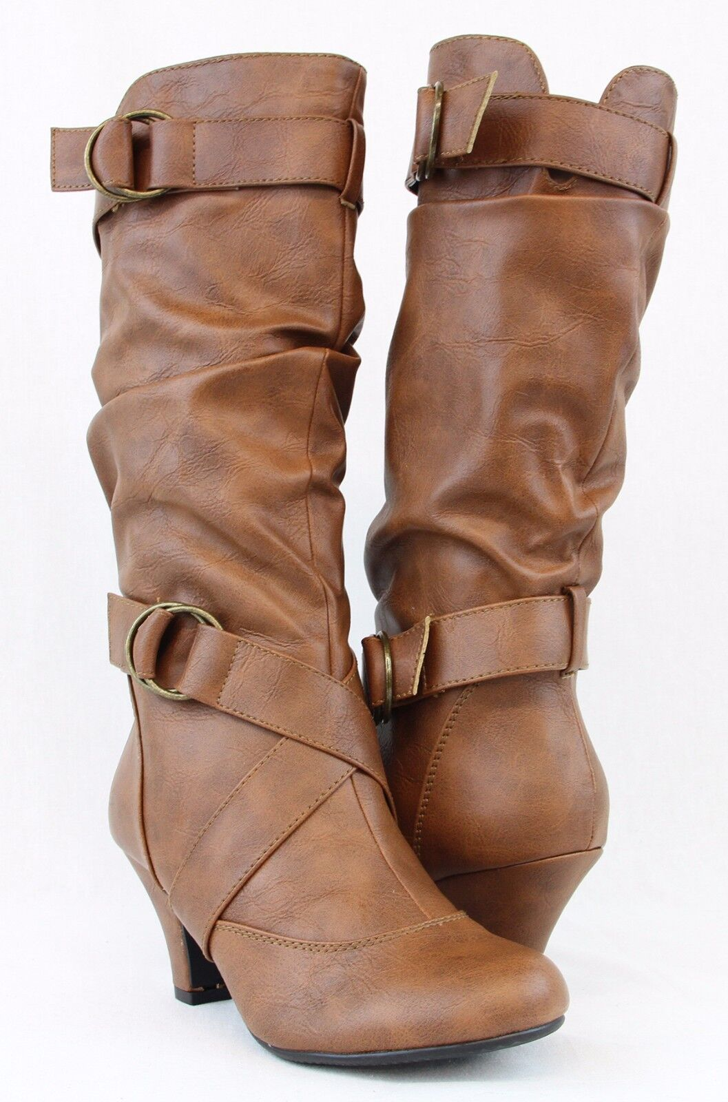 Women Boots Kitten Heels Style Fashion Mid Calf Slouch Faux Leather Cross Design