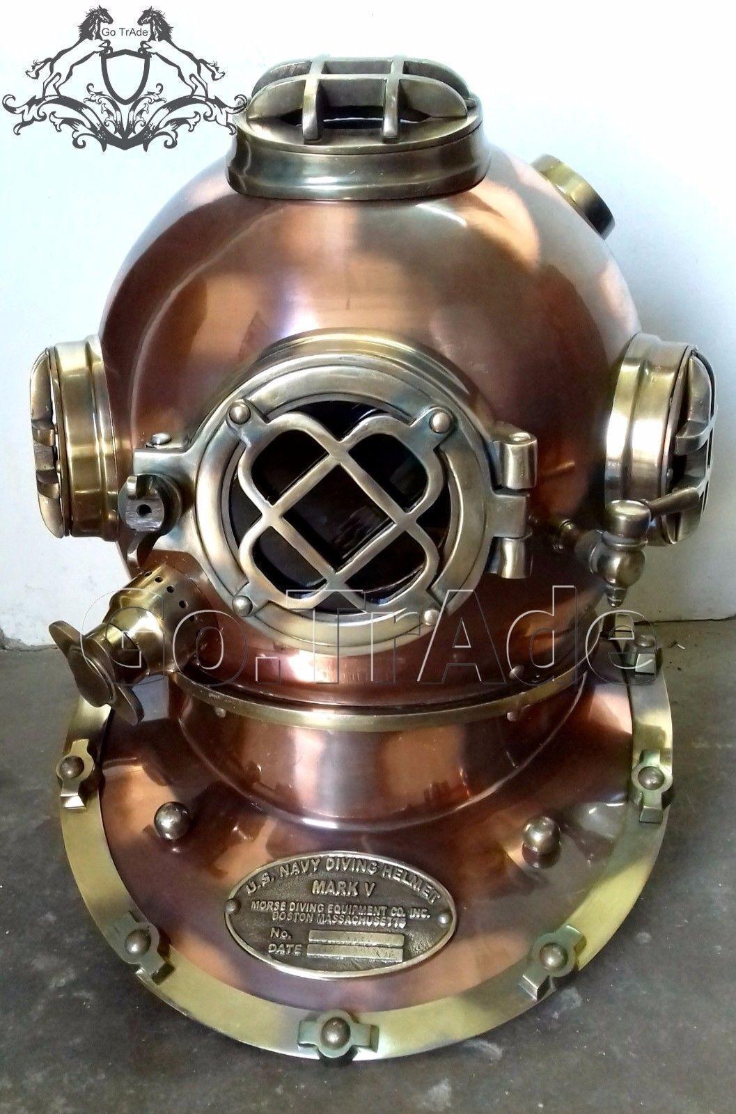 US Navy Mark V Brass /& Iron Mini Chrome Divers Diving Helmet Vintage Decorative