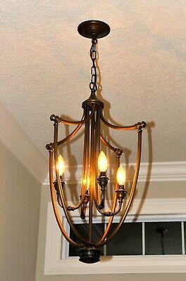 4 Light Foyer Pendant Candelabra Chandelier w Bronze Antique Brass Tone (Light Candelabra Chandelier Finish)