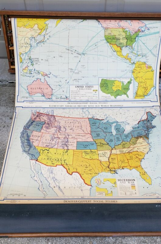 Vintage Set Old School Pull Down 5 Maps and Holder, from 1945 to 1950