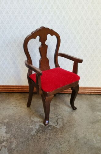 Dollhouse Miniature Arm Chair Vintage Walnut with Red Velvet Seat 1:12 Scale