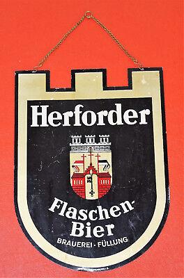 Altes Blech Reklame Schild HERFORDER PILS FLASCHEN BIER