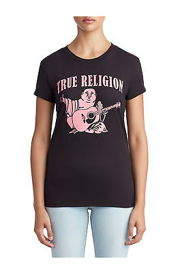 True Religion Women's Classic Buddha Logo Breast Cancer Tee T-Shirt in Black