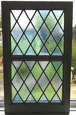 ORIGINAL DIAMOND DESIGN STAINED GLASS PANEL WITH FRAME - REF SG427