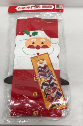 Vintage Christmas Card Holder Door Hanging Holds 30 Cards Santa Holiday Decor