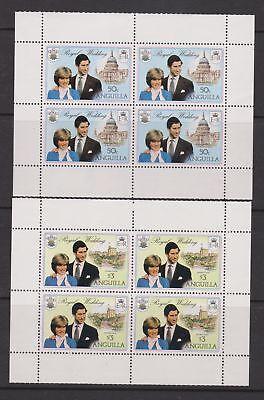 1981 Royal Wedding Charles Diana MNH Stamp Booklet Panes  Anguilla Wmk Side Rev