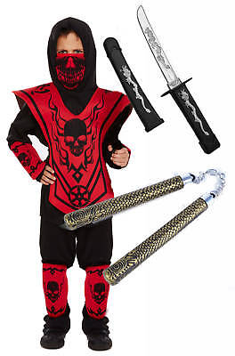 Ninja Ensemble Jungen 6 Stück rot Kinder Halloween - Halloween Ninja Kostüme